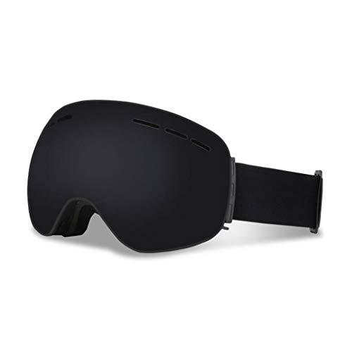 JBHURF Skibrille, Anti-Fog-UV-Schutz Winter Schnee Sport Snowboard Brille Doppelobjektiv Für Männer Frauen Schneemobil Skifahren Skating (Farbe : SCHWARZ)