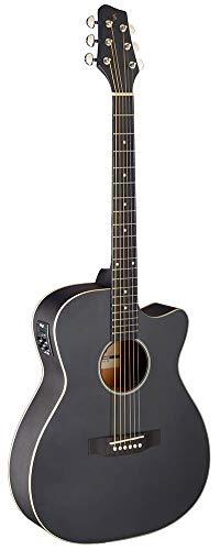 Stagg Cutaway - Guitarra acústica eléctrica, color negro