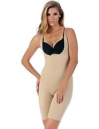 d42179b7ef Jeval Women s Nylon and Spandex Full Body Thigh Trimmer Lift Firm Slim  Control Shapewear Innerwear (
