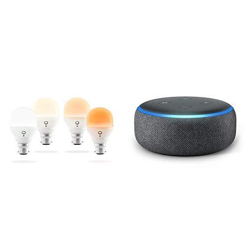 Echo Dot tessuto antracite + LIFX Mini Day & Dusk (B22) Lampadina a LED Wi-Fi Smart, regolabile, multicolor, dimmerabile, non richiede un hub, funziona con Alexa, Apple HomeKit e Google Assistant, confezione da 4