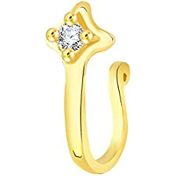 V. K. Jewels Gold Plated Alloy CZ American Diamond Pressing Nose Ring/Nose Pin For Women's -[VKNR1034G]
