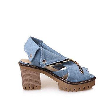 Enochx Donna Sandali Primavera Estate Comfort similpelle outdoor Abbigliamento Sportivo Chunky Heel rivetto Zipper Light Blue