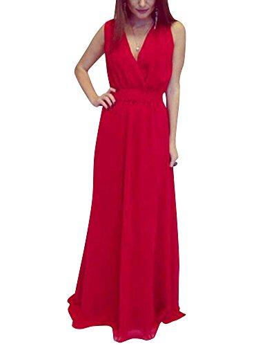 Vestiti Donna Sera Eleganti Vestito Senza Maniche V-collo Da Formale Banchetto Sera Sera Lungo Maxi Cocktail Abiti Rosso