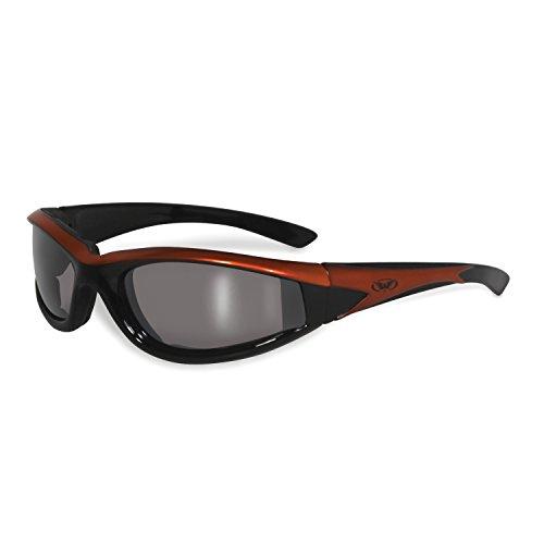 Global Vision Hawkeye☆dunkel verspiegelte Sonnenbrille☆Oranger Rahmen☆Bruchsichere Linsen☆Winddicht mit Polster☆UV400
