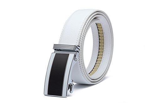 Miuno® Herren kürzbar Leder Gürtel Automatikschnalle in Geschenkbox 1511-010 Weiß