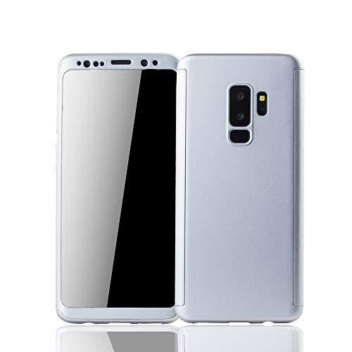 König Design Mobile Phone Case Compatibile con Cover Plus Samsung Galaxy S9 con Pellicola Protettiva | Autunno Sicuro Caso della Copertura del Telefono Completa in Argento