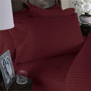Ägyptische Betten 800thread-count, Queen Kissen, Burgund Stripe, Set von 2 (Damast Bett-set Königin)