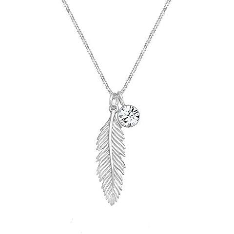Elli Collana da donna in argento Sterling 925 a forma di piuma con cristallo Swarovski, lunghezza 45 cm - Piuma E Collana