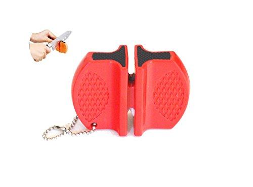 Kerafactum® afilador de cuchillos - 2 páginas afilador de cuchillos de cerámica y sacapuntas de metal afilador de cuchillos con chaira - ideal para acampar al aire libre (rojo)