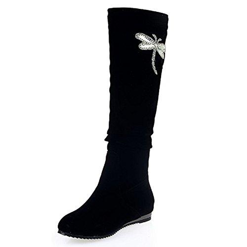 Odomolor Damen Ziehen auf Mattglasbirne Mittler Absatz Rund Zehe Stiefel, Blau, 38