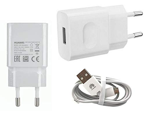 TPC - Cargador Original Huawei HW-050200E01 Micro-USB 2A para P8, P9 Lite, Mate, G8, Y5, Y6, Honor, Blanco, Bulk + Regalo