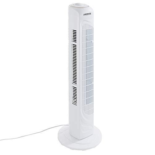 Arebos Turmventilator weiß   50 Watt   oszillierend   3 versch. Stufen   sparsam   ruhiger lauf   mit Tragegriff