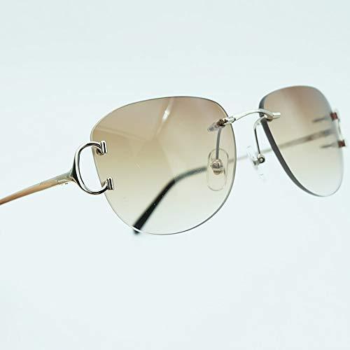 LKVNHP Fashion Sonnenbrille Herren Randlose Brille Oval Designer Marke Metall Shades Urlaub Dekoration SonnenbrillenOval Silber Braun
