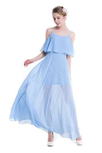 GWELL Damen Sommer Kleid Elegant Cocktail Party Kleider Maxi Chiffon Abendkleid Hochzeit Blau