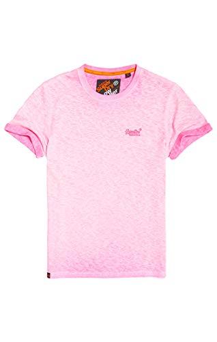 Superdry Herren Low Roller Tee T-Shirt, Rosa (Deep Pop Pink Ps4), Large (Herstellergröße: L)