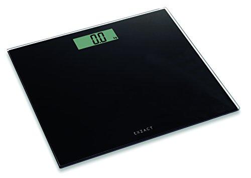 Exzact ColorSlim – Personenwaage/Elektronische Körperwaage/digitale Badezimmerwaage - Ultra schmal 1.7 CM Dicke -150 kg/330 lb - Farbige Glasplattform (Schwarz)