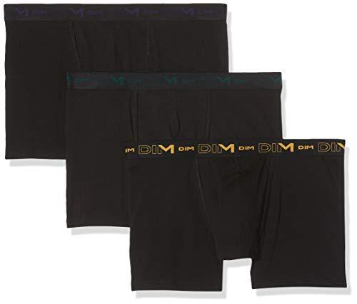 Dim Coton Stretch Boxer Homme, Multicolore Jaune Miel/Bleu Crepuscule/Noir Vert Intense 87f), XX-Large (Taille fabricant:6) (Lot de 3)