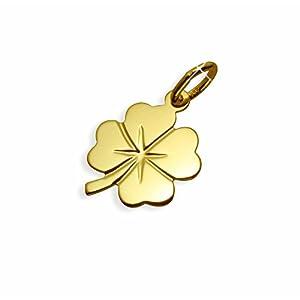 Echt 14 Karat Gold 585 Anhänger Kleeblatt Glücksklee (Art.211011) GRATIS-EXPRESS-GRAVUR