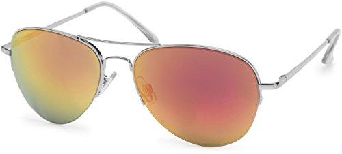 styleBREAKER Sonnenbrille verspiegelt, Pilotenbrille getönt mit Federscharnier, Unisex 09020037, Farbe:Gestell Halbrand Silber/Glas Orange-Rot