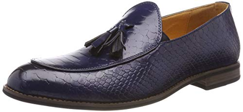 Mocassini da uomo lucidi, con stampa a pelle di serpente, stile smart casual, in pelle, blu (blue), 44