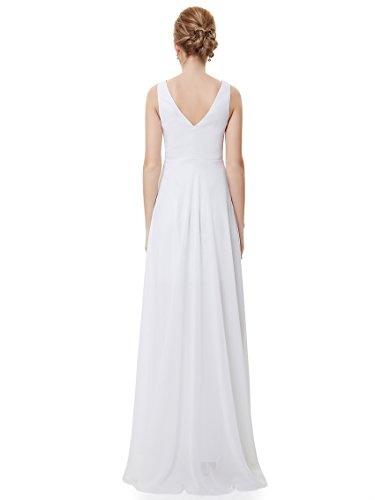 Ever Pretty Robe de Soir¨¦e Double V-col Diamants synth¨¦tiques devant la poitrine 09983 Blanc