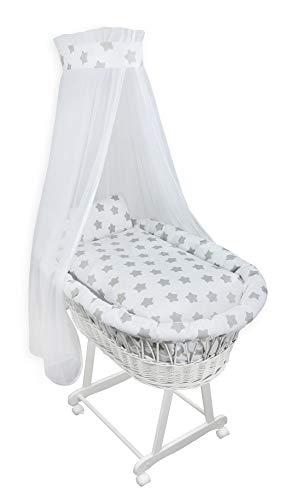 7-tlg Set Baby Stubenwagen Ausstattung Bettwäschen Set Sternen