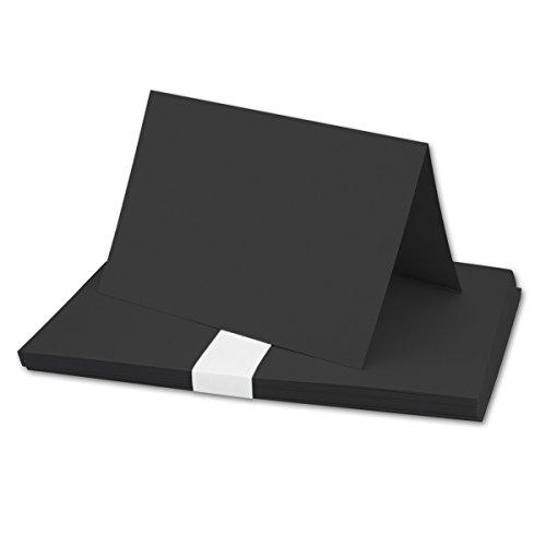 DIN A5 Faltkarten - Schwarz | 25 Stück | Einladungskarten - Menükarten - Kirchenheft - Blanko | 14,8 x 21 cm | formstabil | für Drucker geeignet | Premium Qualitätsmarke: NEUSER FarbenFrohu00ae