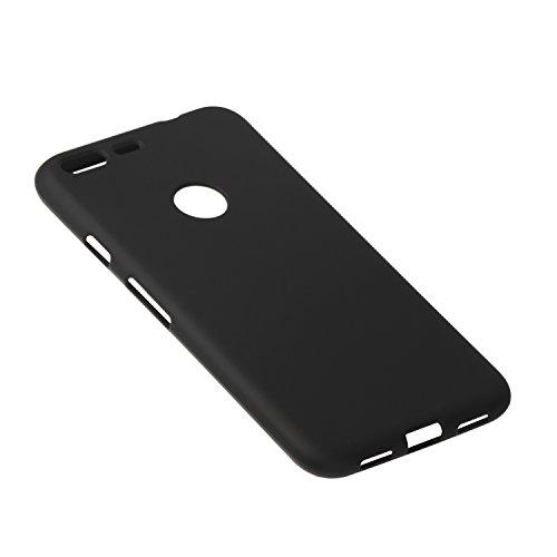 B&L Google Pixel XL 5,5 Zoll schwarze Schutz-Hülle silikon TPU fein-matt schwarz slim Case Cover thin grip solid black Kameraschutz Linsenschutz soft black 1,0mm