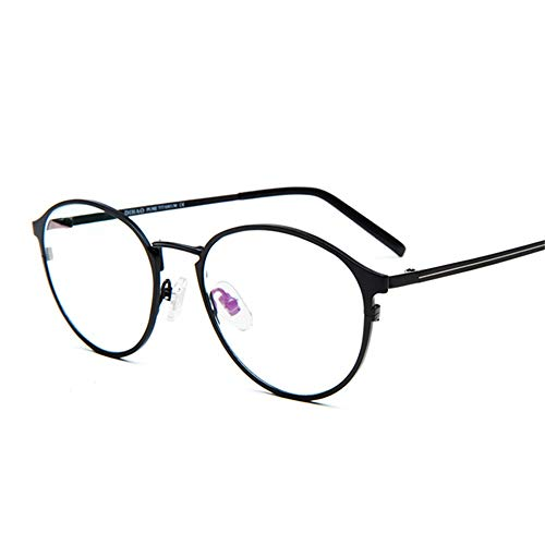 HAIBUHA Brille Retro Ultraleicht Reines Titan Brillengestell Anti-Blaulicht Flacher Spiegel Unisex (Farbe : Schwarz)