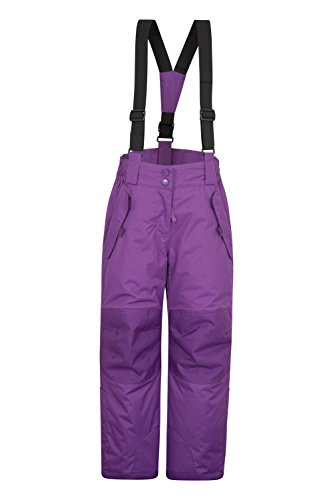 Mountain Warehouse Honey Schneehose für Kinder - Schneedicht, Schneegamaschen, Schneeanzug mit Reißverschluss am Knöchel, abnehmbare Träger, 2 Taschen - Für Skiurlaub Traube 98 (2-3 Jahre)