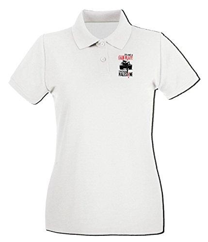 T-Shirtshock - Polo pour femme TM0582 save gaza 4 Blanc