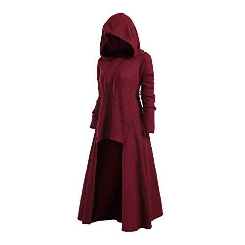 Mxssi Retro Kleid mit Kapuze für Damen Frauen Lange Ärmel Damenkostüme Vintage Mittelalter Renaissance Halloween Party Kostüm Kleider Große Größen Lange Pullover Kleidung (Frauen Kostüm Renaissance)