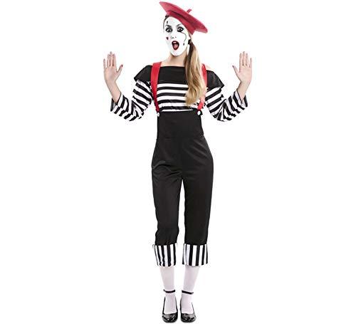 Damen Für Clown Kostüm - EUROCARNAVALES Kostüm Pantomime Clown Damen oder Herren Einheitsgrößen schwarz weiß Karneval (Damen)
