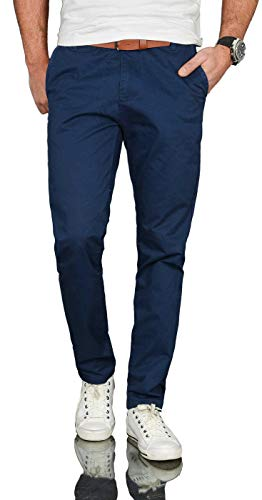 A. Salvarini Herren Designer Business Chino Hose Chinohose Regular Fit AS-095 [AS-095 - Dunkelblau - W33 L32]