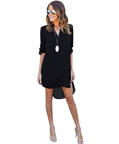 ISSHE Vestidos Cortos Manga Larga Cuello en V de Verano Vestido Camiseta Blusa Camisas Largas Camisa Sueltos Casuales Vestidos de Gasa Blusas de Vestir Casual Anchos Blusones Largos Negro S