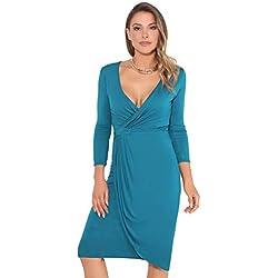 KRISP Vestido Moda Mujer Fruncido, Azul Verdoso (6174), 42, 6174-TEA-14