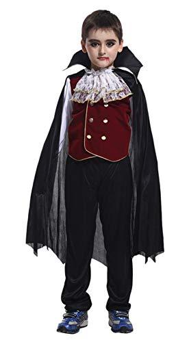 (DEMU Kinder Vampirkostüm Halloween Vampir Dracula Junge Party Karneval Fasching Kinderkostüm (Large))