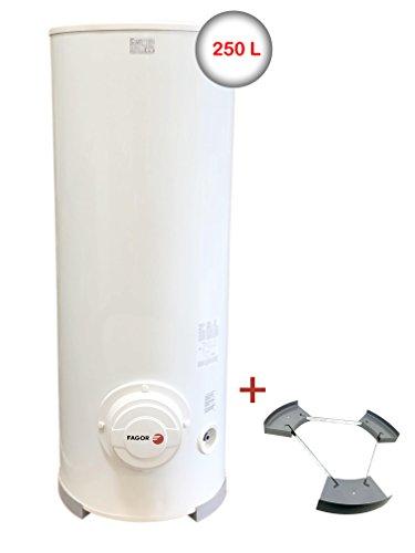 Fagor M-250 SS Warmwasserspeicher 250 Liter Elektrospeicher Warmwasserbereiter Standspeicher / Ø 57 cm / 148 cm H / Leistung 3000W / Stahl spezialemailliert / Innenthermostat / 2,15 kWh /24h / inkl. Sockel