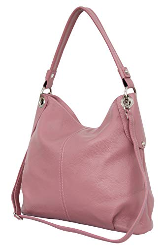 AMBRA Moda Damen echt Ledertasche Handtasche Schultertasche Beutel Shopper Umhängtasche GL012 (Dunkel Rosa)