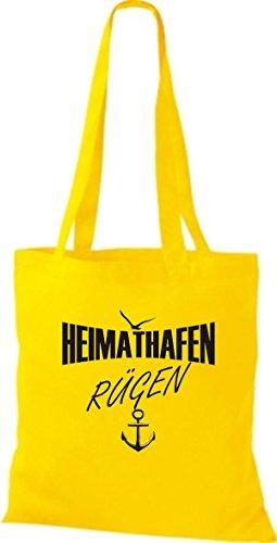Shirtstown Stoffbeutell Heimathafen Rügen viele Farben Gelb
