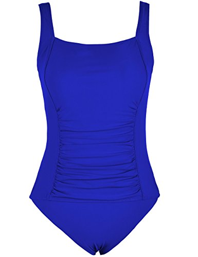 3adc91a306b04 Firpearl Women's Retro One Piece Bathing Suit Ruched Tummy Control Swimsuit  Royal Blue UK14