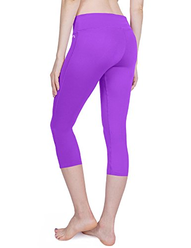 Baleaf Damen Yoga Sport Hose Workout Training Capri Leggings Innentasche Violett