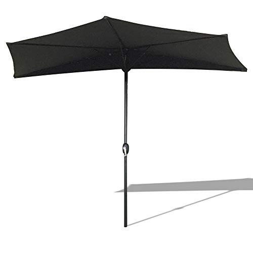 AUFUN Halbrund-Sonnenschirm mit kurbel 300cm UV Schutz 40+ - Dunkelgrau Alu Balkon Terrassenschirm Marktschirm Gartenschirm (Dunkelgrau)