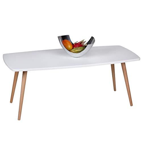 Wohnling Design Couchtisch Scanio Wohnzimmertisch matt, Kaffeetisch im skandinavischen Retro-Look, Tisch mit Echtholzbeinen, Loungetisch Wohnzimmer rechteckig, 110 x 50 x 42 cm, weiß -