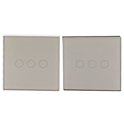 2 in 1 Set Crystal Glass 3 Gangs 2 Ways Panel Touch Wall Light Switch