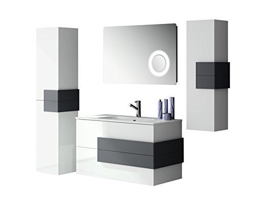 Mobili Da Bagno Bianco Lucido : Mobile bagno cm compatto con lavabo in vetro colore bianco