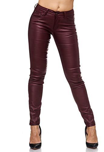 EGOMAXX Damen Treggings Leder Optik Biker Stretch Hose Faux Hüfthose, Farben:Rot, Größe Damen:40 / L