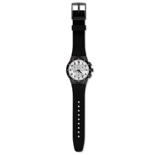 Swatch Unisex-Armbanduhr Classic Twice Again Black Chronograph Quarz Silikon SUSB401