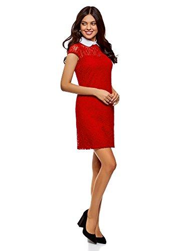 oodji Ultra Damen Spitzenkleid mit Kontraskragen Rot (4510B)