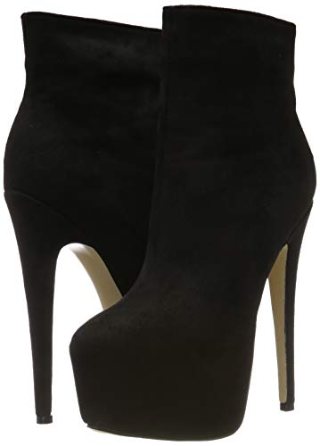 EKS Frauen Frühling Winter Stiefeletten Reißverschluss Nieten Dekoration Extreme High Heel Stiefel - 5